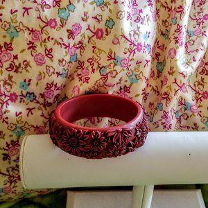 Vintage Red Cinnabar Floral Chunky Bangle Bracelet
